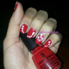 "Valentines Nail Art #4: White and Red Dry Marble Nails using China Glaze in ""Poinsettia"""