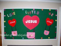 Valentine's Day- cute, could incorporate pics! Bible Bulletin Boards, February Bulletin Boards, Valentines Day Bulletin Board, Christian Bulletin Boards, Winter Bulletin Boards, Preschool Bulletin Boards, Preschool Art, Bullentin Boards, Sunday School Classroom