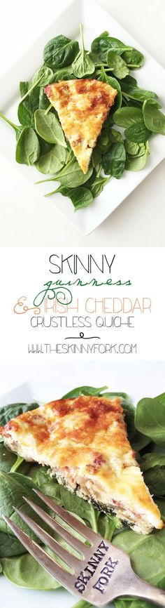 Skinny Guinness & Irish Cheddar Crustless Quiche - Get ready for St. Patrick's Day with beer, bacon, and cheddar! And, yeah... it's still skinny! TheSkinnyFork.com