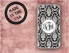 Monogrammed Iphone 5 case, Iphone 4s cover - Black white damask -  monogram Iphone 5 Iphone 4 case, plastic or silicone rubber iphone (9584 on Etsy, $16.99