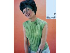 Womens LACY JUMPER Knitting Pattern PDF, Ladies Sleeveless Summer Top Sweater 32-40 inch Pdf Patterns, Craft Patterns, Vintage Patterns, Jumper Knitting Pattern, Knitting Patterns, Lace Making, Love To Shop, Novelty Gifts, Double Knitting