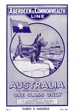 Aberdeen and Commonwealth Line- fares and sailings to Australia 1931.