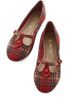 Step Out to Study Flat in Red. Heading to a beautiful, historic library on campus inspires you to don your most scholarly styles, including these plaid flats by Restricted! #red #modcloth