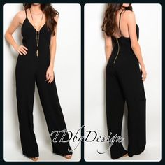 "{boutique} LAST ONE ALERT! Versatile Jumpsuit BRAND NEW! I am so excited about this outfit it is totally cute, on trend, and super versatile. Appropriate for so many occasions. This is the perfect closet essential for u to have fun playing with your accessories to dress it up or down.   Color: Black.   L: 58""  B: 15""  W: 14""                      Inseam 30"" approx  -Size: I have avail 1 small & 0 Med (my larges sold before I could post)  -Material: 42% Rayon 58% viscose  -Features: Gold…"
