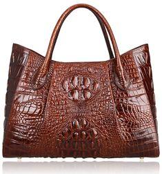 dbb27c37d4 PIJUSHI Women Handbags Crocodile Top Handle Bag Designer Satchel Bags For  Women (22198 Coffee)