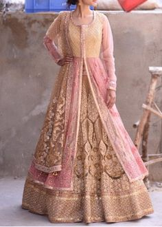 Cream n Pink Net anarkali