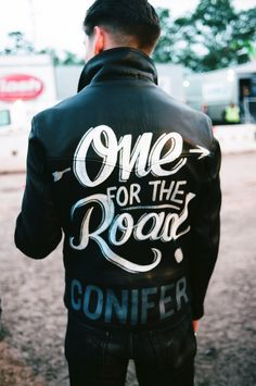 "Alex Turner>> I want to make my own version of the ""One for the Road"" jacket. Possibly on a big denim shirt or jacket, or I may stick to the leather. But this is definitely on my bucket list. <3"