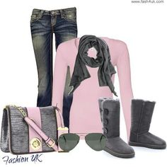 Dark denim skinny jeans, light pink sweater, gray scarf and ankle boots