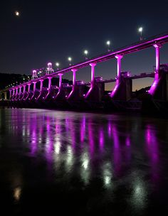 Big Dam Bridge, Dusk over the Big Dam Bridge, over the Arkansas River. This was taken from the North Little Rock side. The moon was hanging out just above the bridge. photo by Brian Cormack. A purple bridge? Purple Love, All Things Purple, Shades Of Purple, Purple Rain, Mississippi, Beautiful World, Beautiful Places, Good Night Quotes Images, North Little Rock