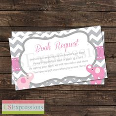 Pink and Gray Elephant Baby Shower Book Request by CSExpressions