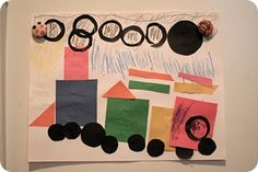 Train craft- cut out rectangles & circles and have child place them!