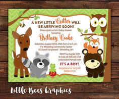 Woodland Forest Animals Printable Baby Shower or Birthday Invitation -- Chevron Print -- Any Color