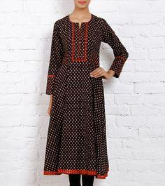 Black & Red Block Printed Cotton Anarkali Kurta. $96 on 9/7/15.