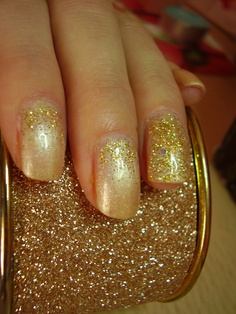 soak off gel nails - summer gold glitter edition