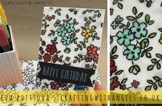 Crafting With Angels: Come & Stamp Along Club - April 2018  Made in the club using petal passion DSP, Stampin' Up! blends, perennial birthday stamp set. The whole background is clear embossed and cracked to create a broken glass effect.