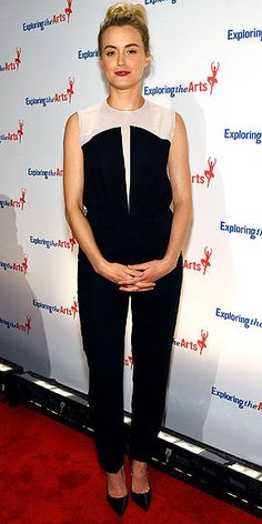 Taylor Schilling in a black and white jumpsuit by Vionnet.
