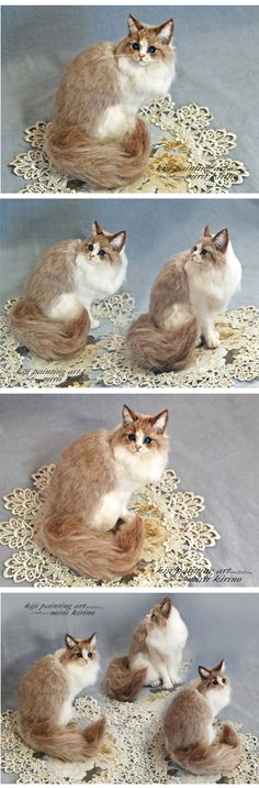 pretty needle felted cat