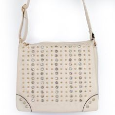 """Click Here and Buy it On Amazon.com $35.99 Amazon.com: New Arrival """"Designer Inspired"""" Bling Bling Rhinestone and Small Round Golden Rivet Studded Solid Trifold Style Messanger Bag / Crossbody Bag in Ivory Beige: Clothing"""