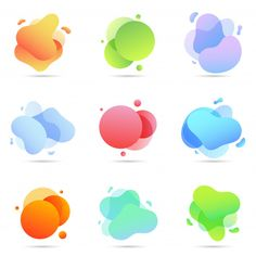 Set of liquid color abstract geometric shapes Premium Vector Design Isométrico, Kids Graphic Design, Graph Design, Graphic Design Posters, Tool Design, Design Elements, Print Design, Interface Web, Web Design Examples