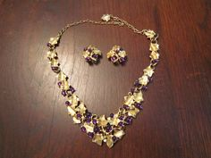 Kunio Matsumoto Grape Necklace and Earrings with Purple Cabochons by HeartoftheSouthwest on Etsy
