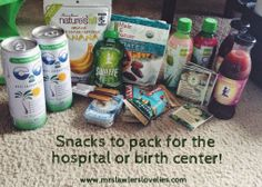 Snacks to pack for the hospital or birth center! Ice chest with yoghurts, etc. And bring an electric hot-water kettle to make tea, soups, etc. Labor Hospital Bag, Hospital Birth, Birth Affirmations, Water Birth, Pregnancy Labor, Natural Birth, Midwifery, What To Pack, Baby Love