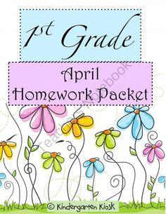 April Homework Packet: 1st Grade from Kindergarten Kiosk on TeachersNotebook.com -  (21 pages)