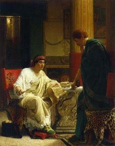 Vespasian Hearing from One of His Generals of the Taking of Jerusalem by Titus (The Dispatch) Artist: Sir Lawrence Alma-Tadema Style: Romanticism Genre: genre painting Dimensions: 51 x 38 cm Gallery: Private Collection Lawrence Alma Tadema, Classical Antiquity, Classical Art, Classical Realism, Rome Antique, Dutch Painters, Dutch Artists, Traditional Paintings, Ancient Rome