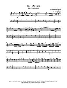 Girl On Fire - Alicia Keys. Find more free sheet music at www.PianoBragSongs.com.