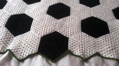 granny hexagon blanket, for the soccer lovers I know!
