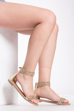 a0fceb33579a7a Gold Faux Leather Cut Out Ankle Strap Heels   Cicihot Sandals Shoes online  store sale
