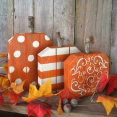 Adorable Set of 3 Fall Pumpkins Painted with Dots, Stripes & Swirls Made from 2 inch Thick Wood Great Fall/Autumn Thanksgiving…