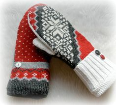 WOMEN'S Recycled Sweater Twisted MITTENS  by DesignItAgainCrafts, $25.00