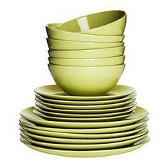 FÄRGRIK 食器18点セット - グリーン - IKEA 1990円
