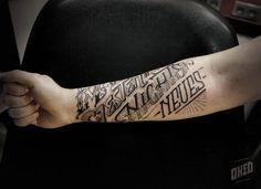 Oked_ tatoueur typo Tribal Tattoos, Martial, Writing, Tattoos, Sign Painting, Tattoo Studio, Being A Writer