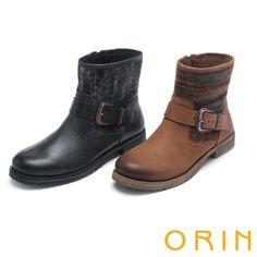 $3980.ORIN 粗曠中性帥氣 雙色蠟染牛皮扣環短靴-棕色 - 2.7CM
