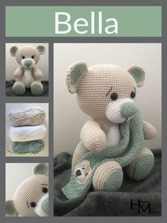 A free Dutch crochet pattern from Bear Bella. Do you want to crochet Beer Bella too? - A free Dutch crochet pattern from Bear Bella. Do you want to crochet Beer Bella too? Crochet Easter, Cute Crochet, Crochet Dolls, Crochet Bear Patterns, Amigurumi Patterns, Crochet Animals, Bunny Plush, Bunny Toys, How To Start Knitting
