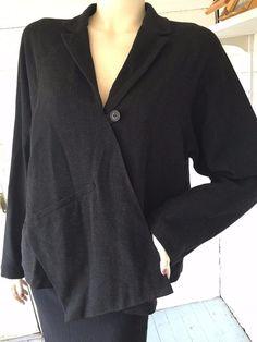 LILITH France Grey Gray Wool Blend Lagenlook Boutique Trompe L'Oeil Jacket M #Lilith #Trompeloeilplacketboxyjacket