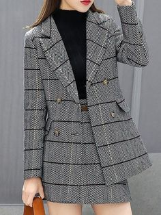 Stylewe Two-Piece Set For Women Coffee Gray Buttoned Pockets Outfits - Outfits for Work - Business Outfits for Work Korean Girl Fashion, Korean Fashion Trends, Asian Fashion, Teen Fashion Outfits, Suit Fashion, Look Fashion, Fashion Tips, Hijab Fashion, 80s Fashion