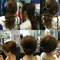 Half up do and full up do styling for bridal.