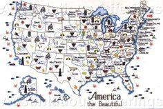 USA State Maps Cross Stitch Chart Series Sue Hillis Travel Map