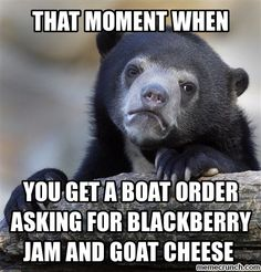 worst case, boat order asks for two things from the same machine, like butter and cream..
