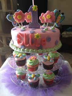 Spring themed b day cake and cupcakes