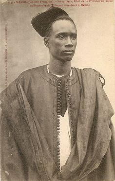 """Vintage postcard, Guinea, circa 1900. Photographer Alphonse James. """"Sorry Dara, Chief of the province of Telko and Secretary of the Muslim tribunal at Mamou."""""""
