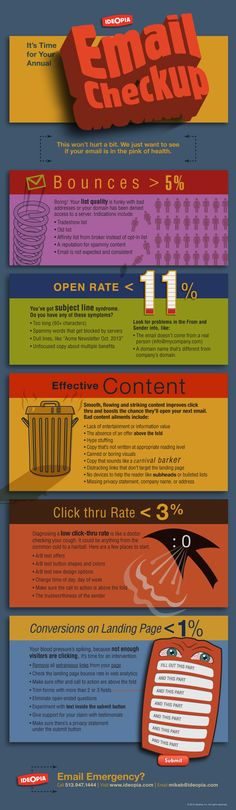 It's time to check if your bounce rate, open rate, click thru rate and content are in the pink of health. #email #marketing #infographic - by Bootcamp Media ( #Marketing #SEO #Infographics )
