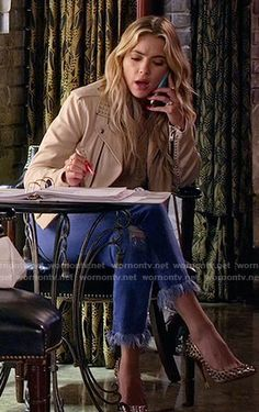 Hanna's cream studded leather jacket and frayed jeans on Pretty Little Liars.  Outfit Details: https://wornontv.net/58991/ #PLL