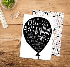 Balloon Black & White Birthday Party Invitation Printable, Typography, Simple Girl Invite, Sweet 16, 1st Birthday, 21st Birthday, 30th Bday by INVITEDbyAudriana on Etsy https://www.etsy.com/listing/237500399/balloon-black-white-birthday-party