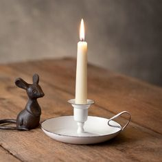 Distressed White Farmhouse Taper Candle Holder from Marmalade Mercantile. A great farmhouse look and they fit our battery candles perfectly! Battery Candles, Old Candles, Taper Candles, Candle Lanterns, Candle Lamp, Candels, Beeswax Candles, White Candles, Candleholders