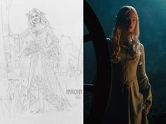 "To contrast the dark, harsh tones of Malificent, Sheppard sought inspiration from Shakespeare's Ophelia to channel Aurora's innocent, ethereal look. ""(Elle Fanning) is very beautiful, and I didn't want the costume to overwhelm who she is in the movie,"" Sheppard explains. ""I didn't want the costumes to be too complicated."""