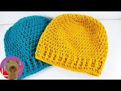 Winter hat knitting, For Beginners, Beanie with a Pattern, Winter hat crocheting Crochet Cocoon, Crochet Diy, Chunky Crochet, Crochet Hooded Scarf, Crochet Beanie, Knitted Hats, Loom Knitting, Knitting Patterns, Crochet Patterns