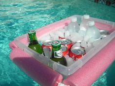 DIY cooler- cut a noodle and tie a rope through it, around a Rubbermaid bin..pretty inventive!